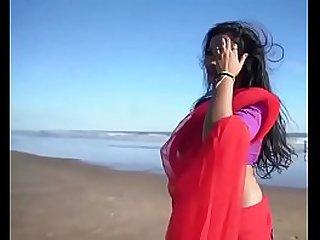 Indian Woman on Seaside activity